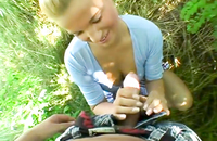 Blonde hottie banged in the forest. She is a slutty thing who likes some POV porn outdoors. She always wanted to be a part of one.